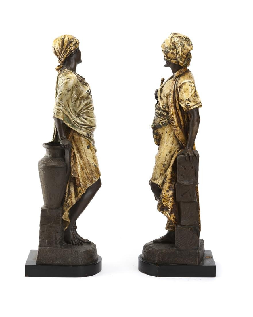 A pair of cold-painted spelter Arabian figures - 2