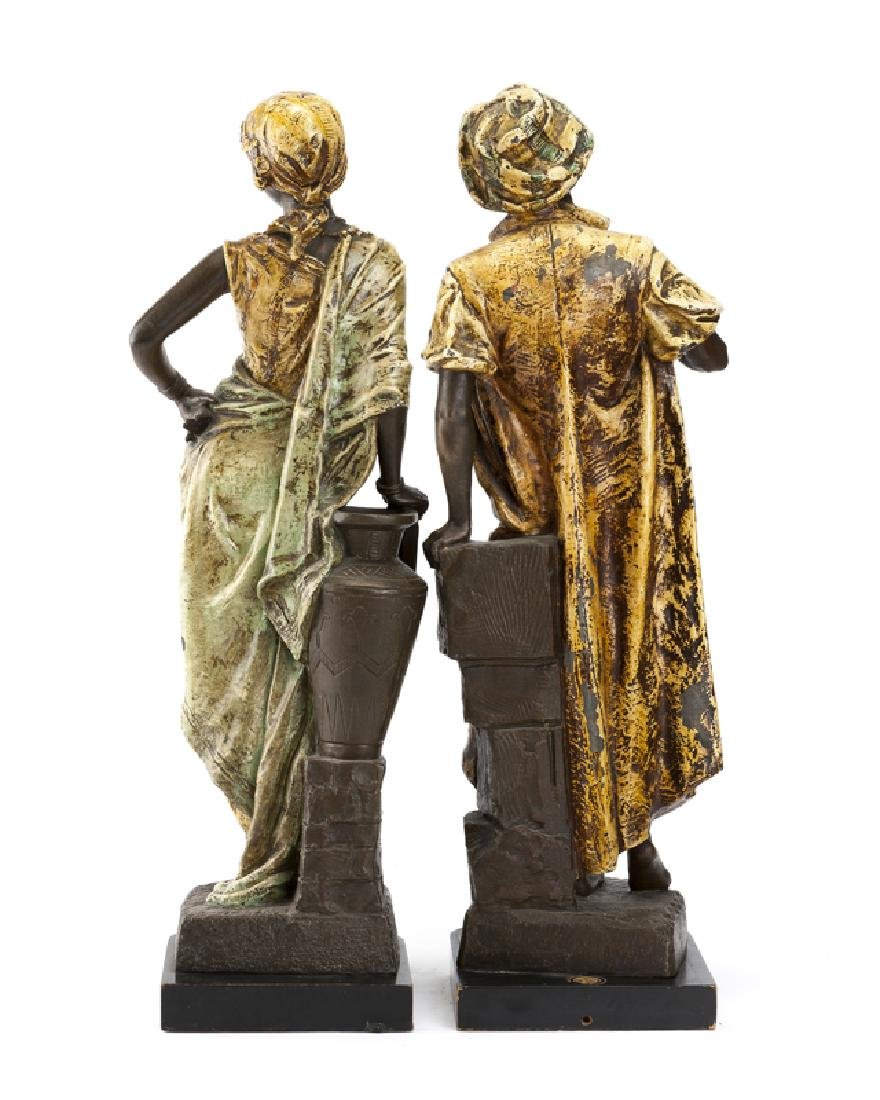 A pair of cold-painted spelter Arabian figures - 3