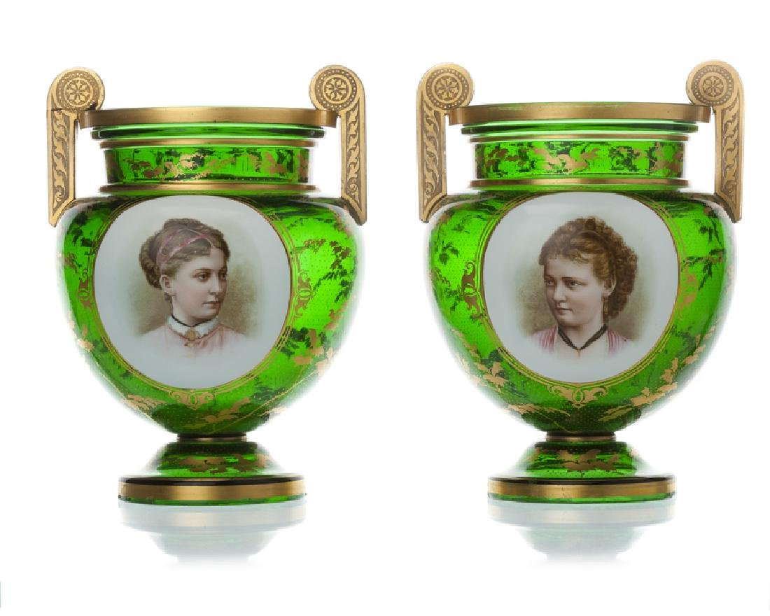 A pair of Moser gilt and hand-painted art glass