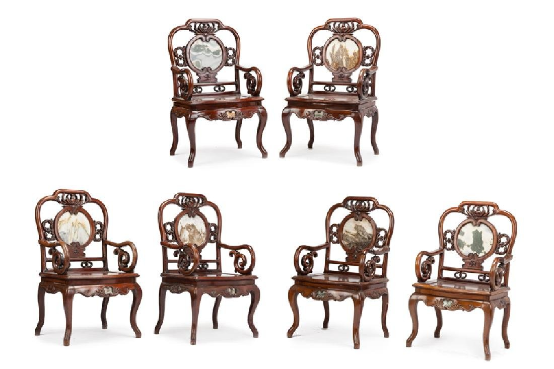 Six Chinese carved hardwood armchairs
