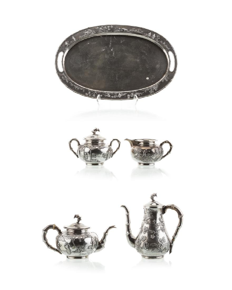 A Chinese silver coffee and tea service