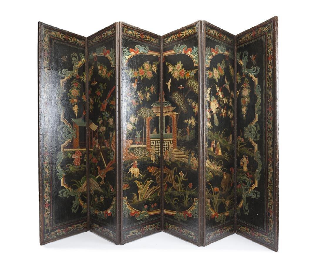 An English chinoiserie six-panel folding screen