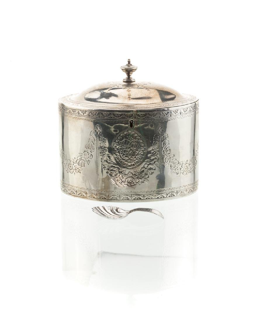 A Hester Bateman sterling tea caddy and spoon
