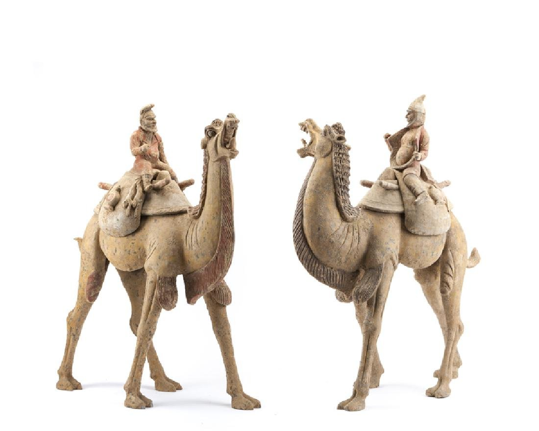 A pair of Chinese Tang Dynasty pottery Bactrian camels