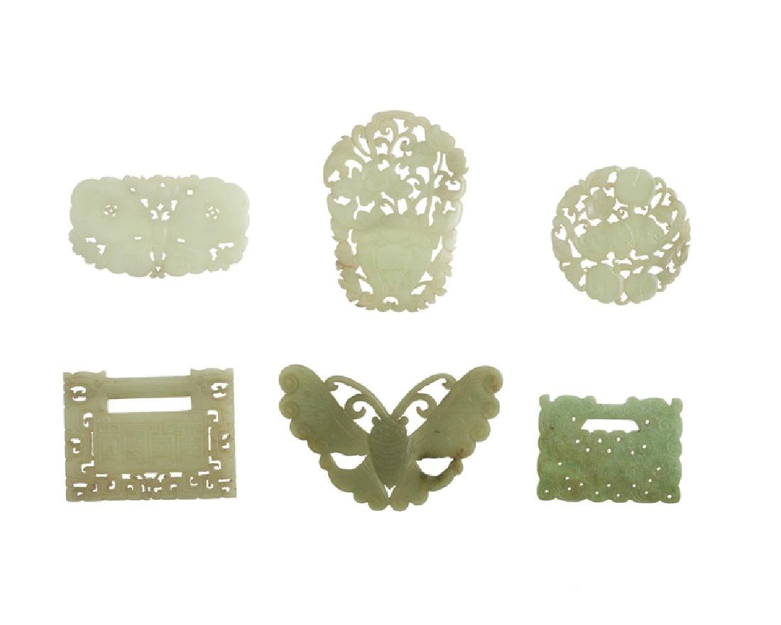 Six Chinese carved jade plaques