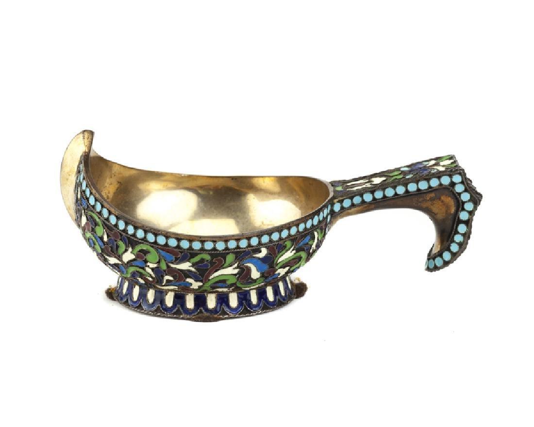 A Russian-style enameled silver kovsh