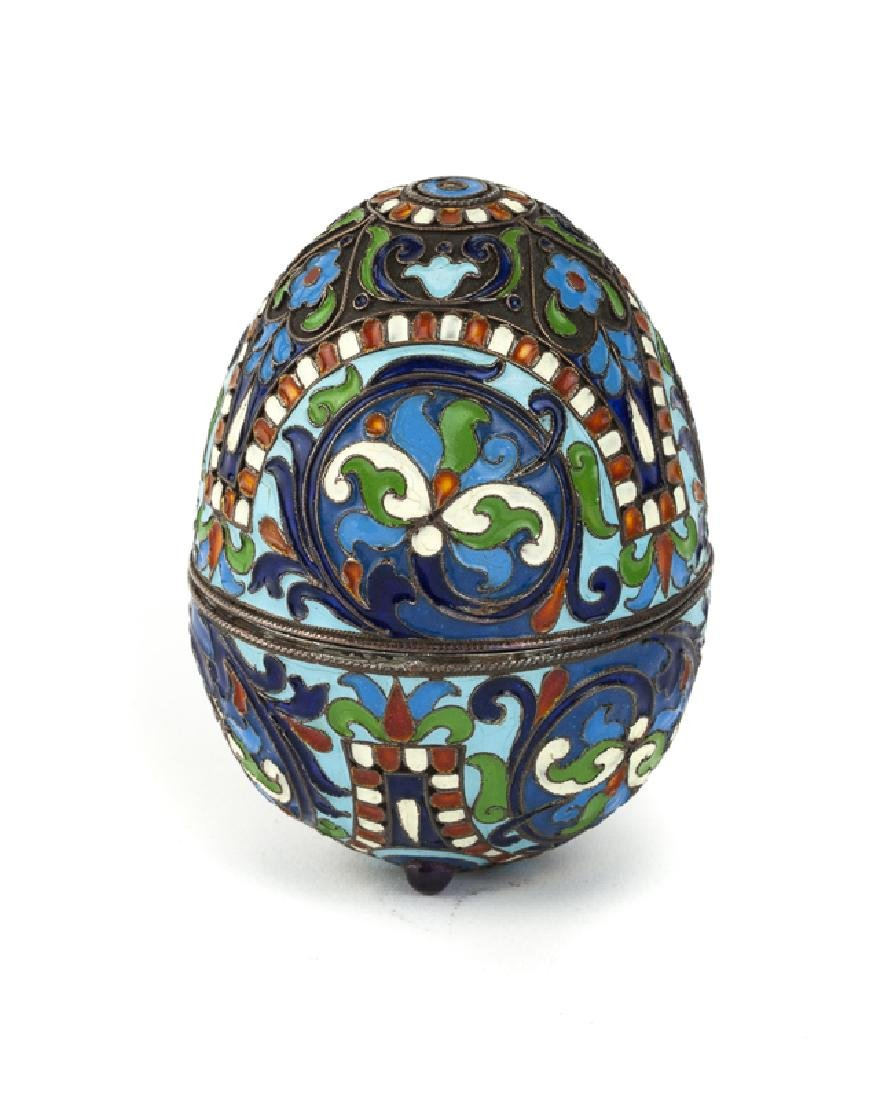 A Russian-style enameled silver egg