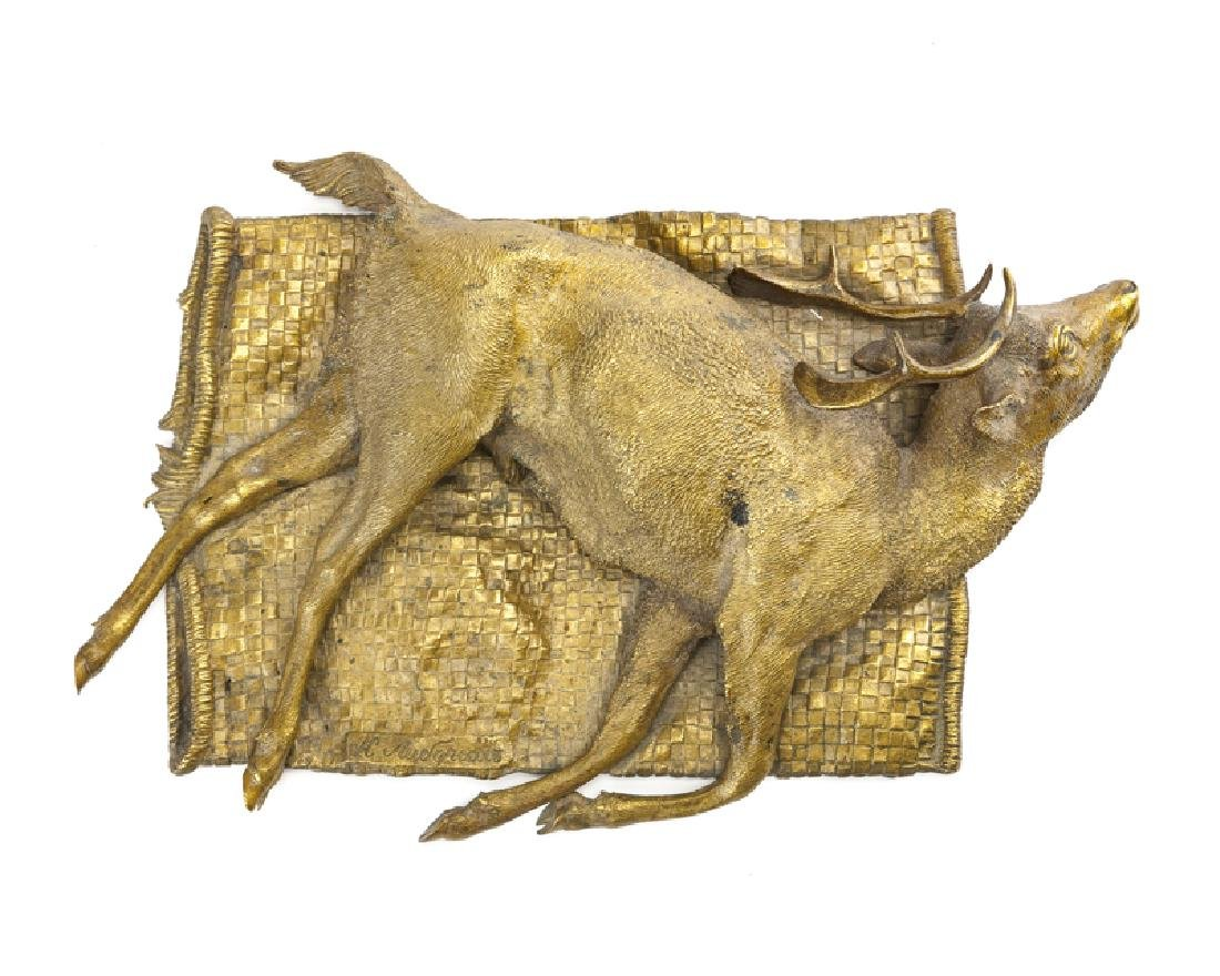 A Russian bronze sculpture of a slain buck