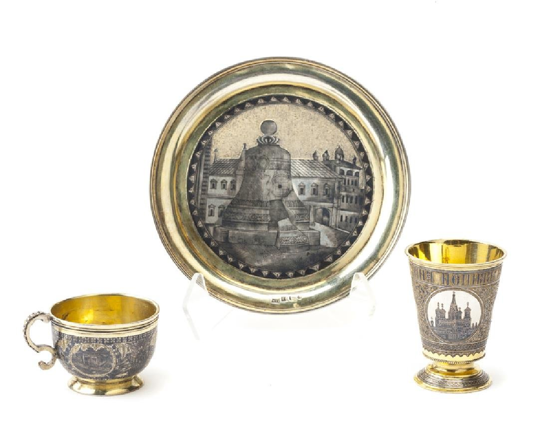 Three Russian silver, gilt and niello objects