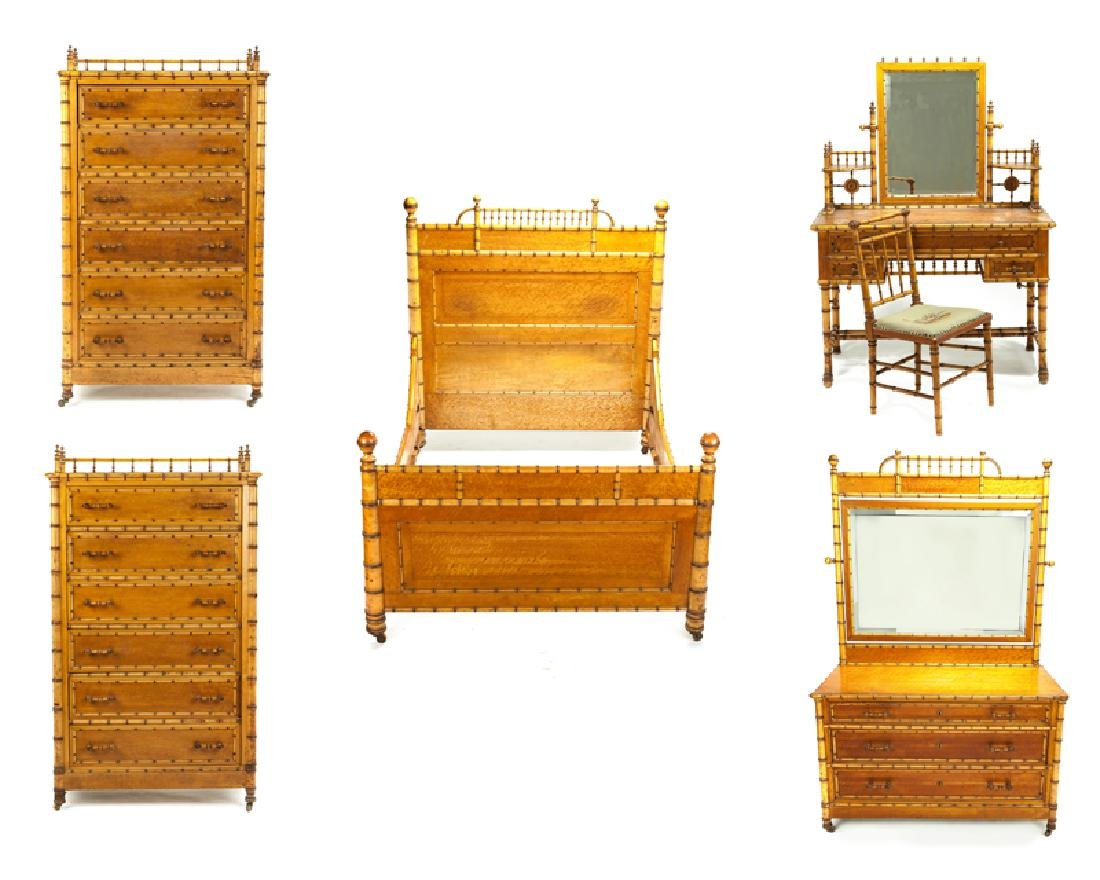 A Victorian faux bamboo bedroom set