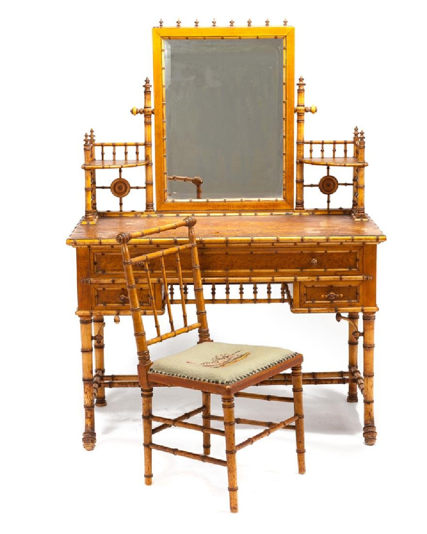 A Victorian faux bamboo bedroom set - 2
