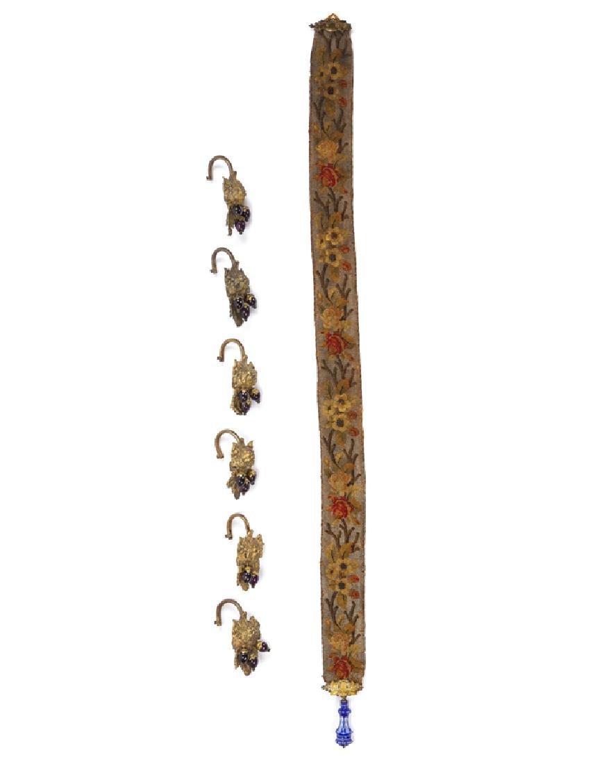 6 Victorian brass and amethyst glass drapery tie-backs