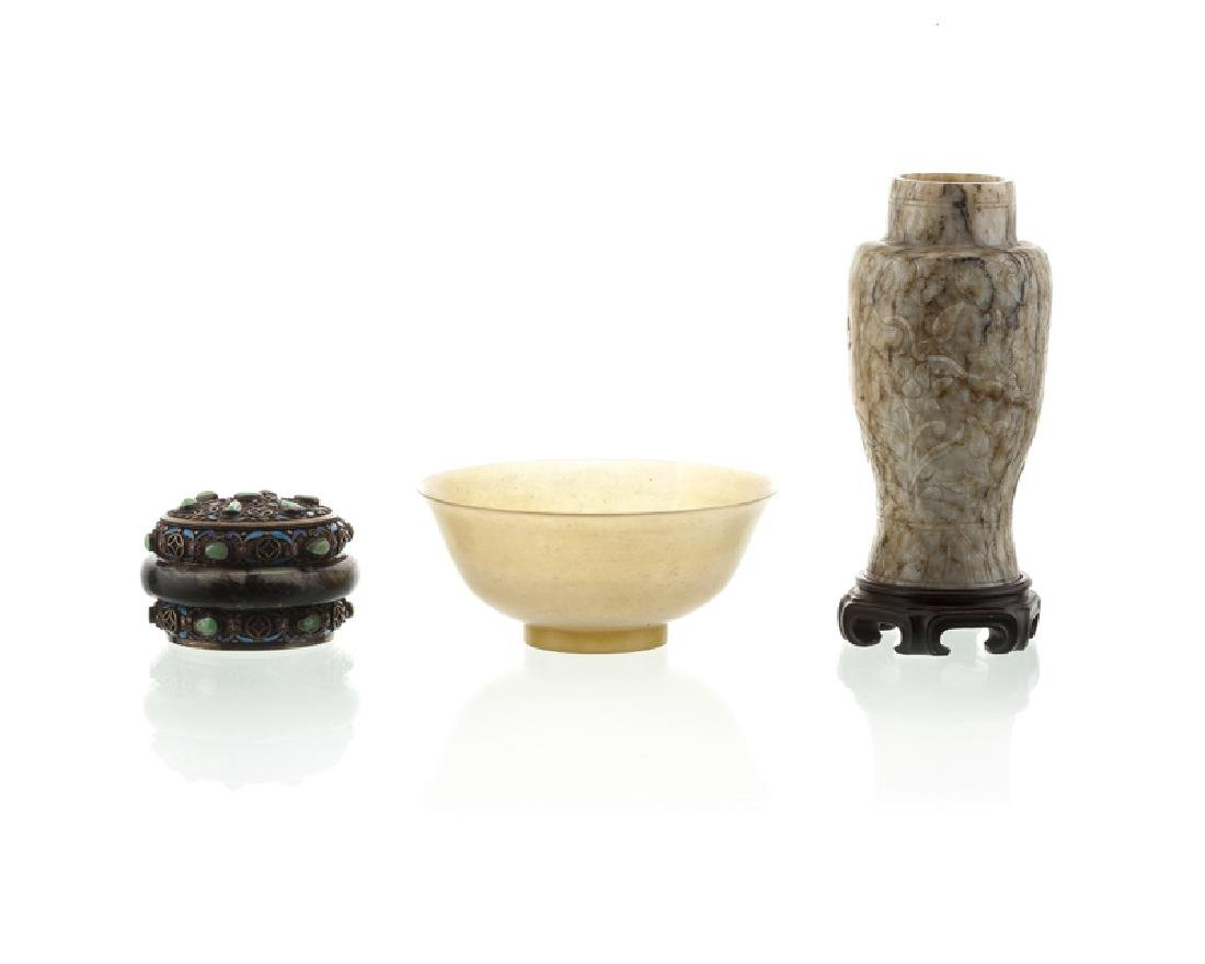 Three Asian carved stone objects