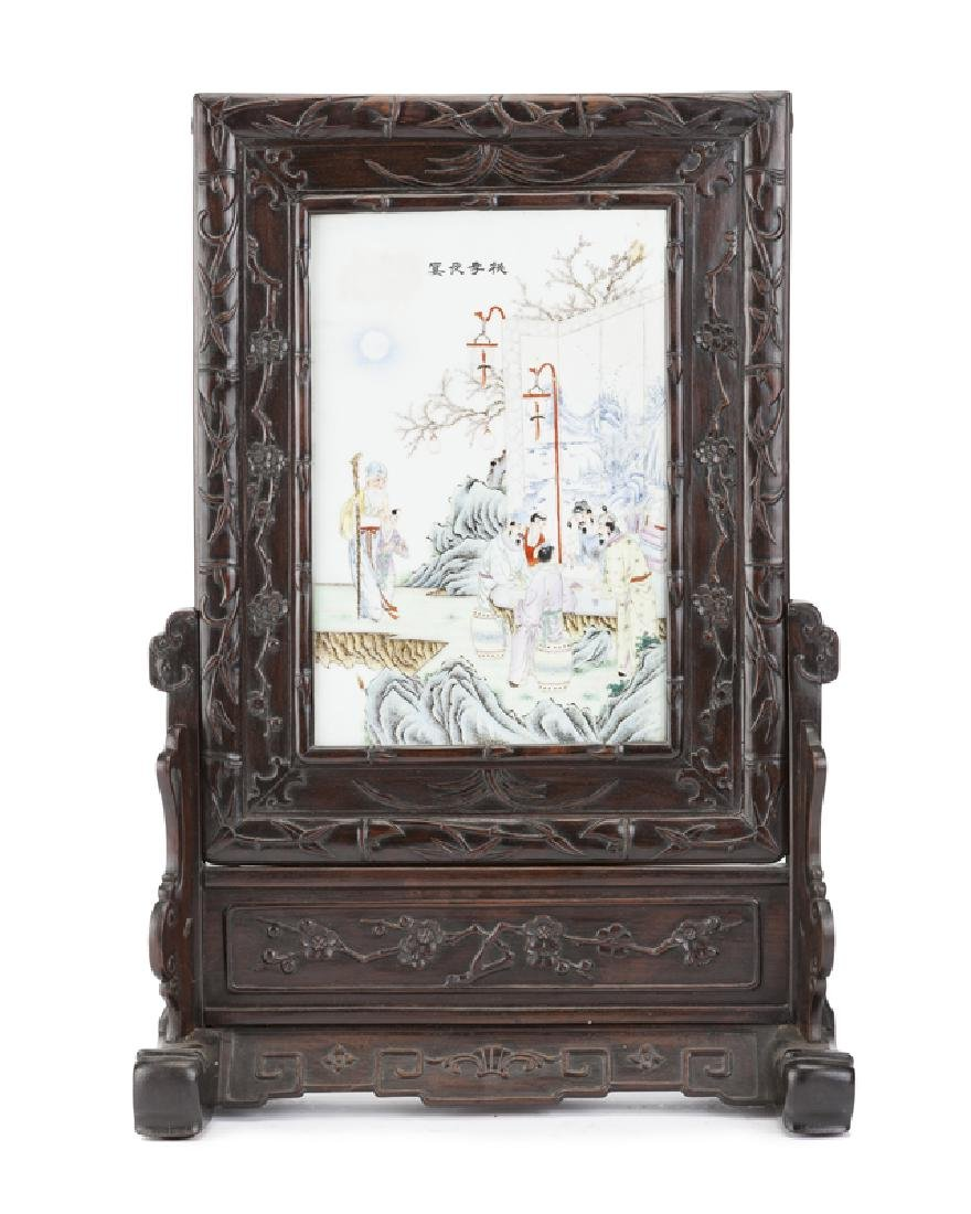 A Chinese porcelain plaque/table screen