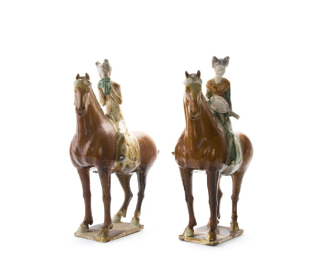 A pair of sancai glazed Tang dynasty-style model horses