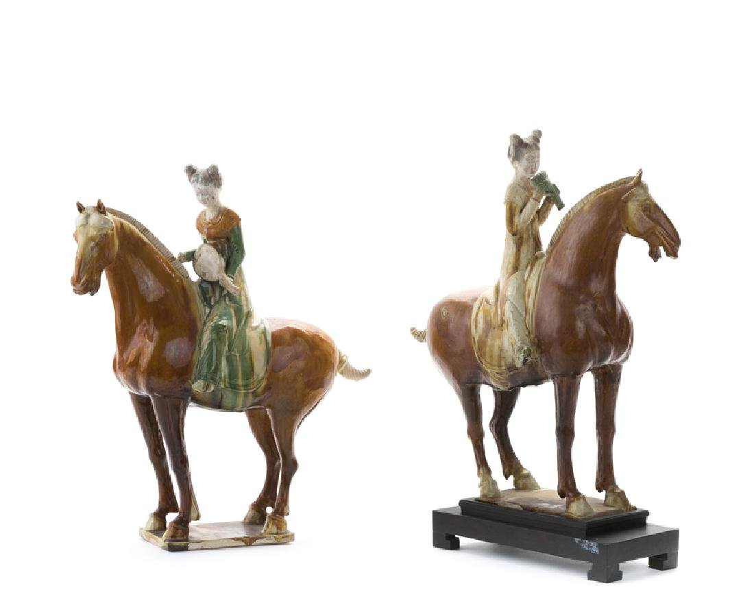 A pair of sancai glazed Tang dynasty-style model horses - 2