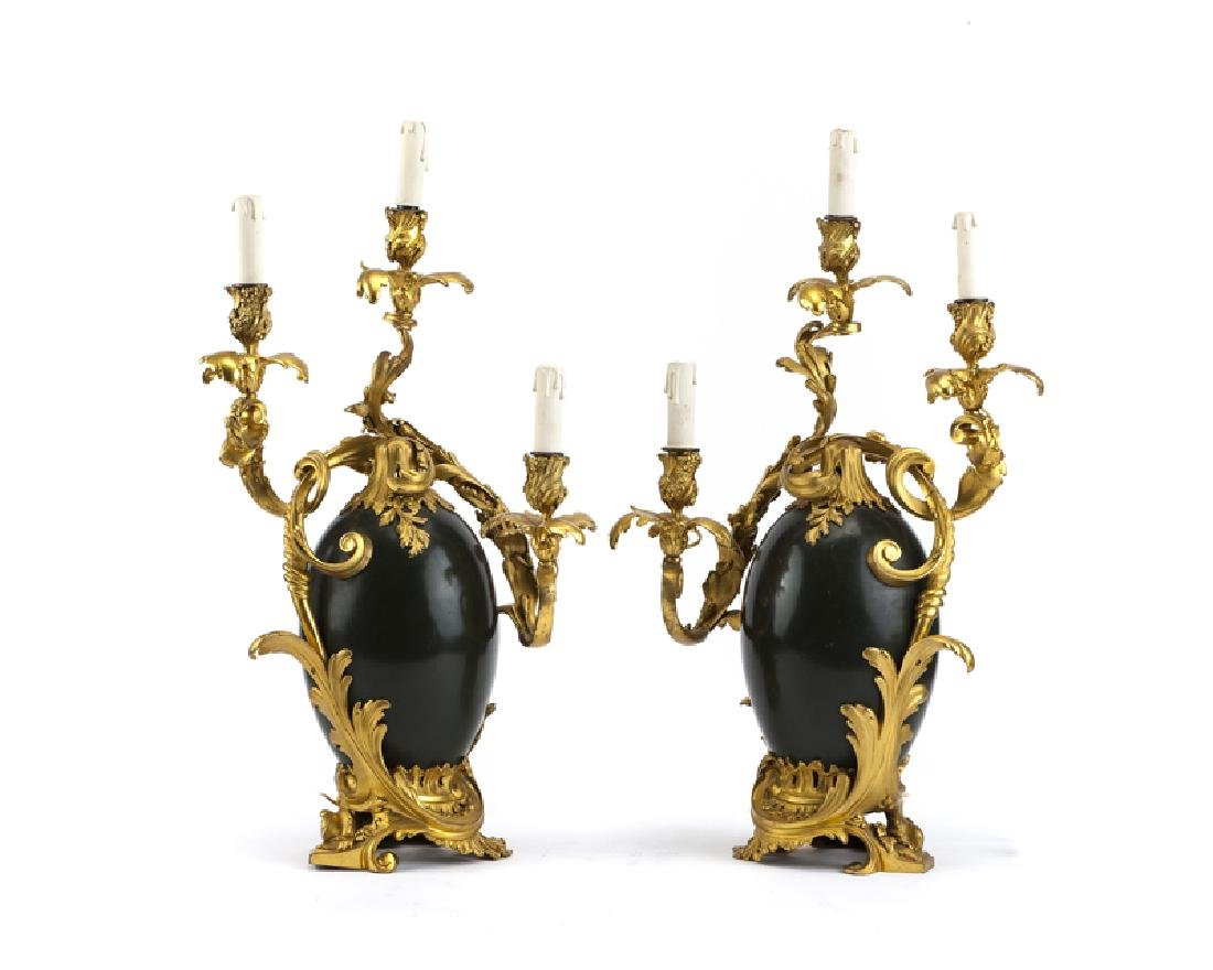 A pair of Louis XV-style bronze lamps, Henri Dasson