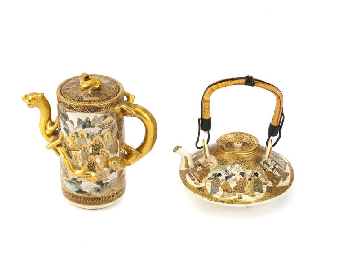 Two Japanese Satsuma porcelain teapots