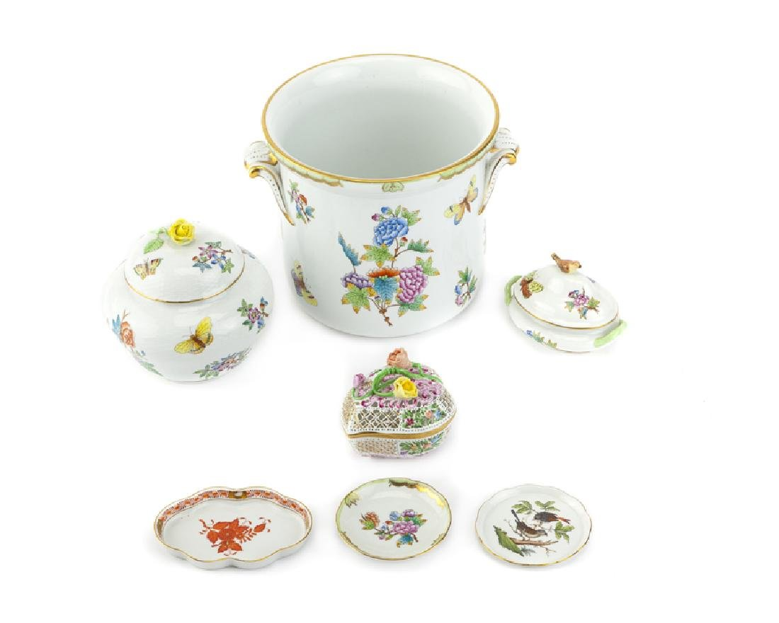 A group of Herend hand-painted porcelain