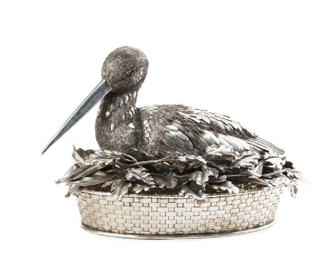 A Buccellati .800 silver bird-form centerpiece basket