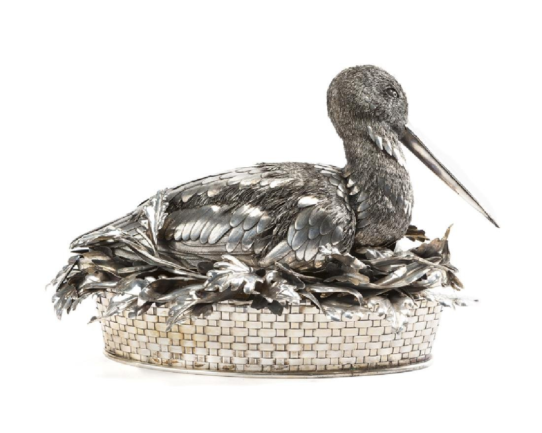A Buccellati .800 silver bird-form centerpiece basket - 2