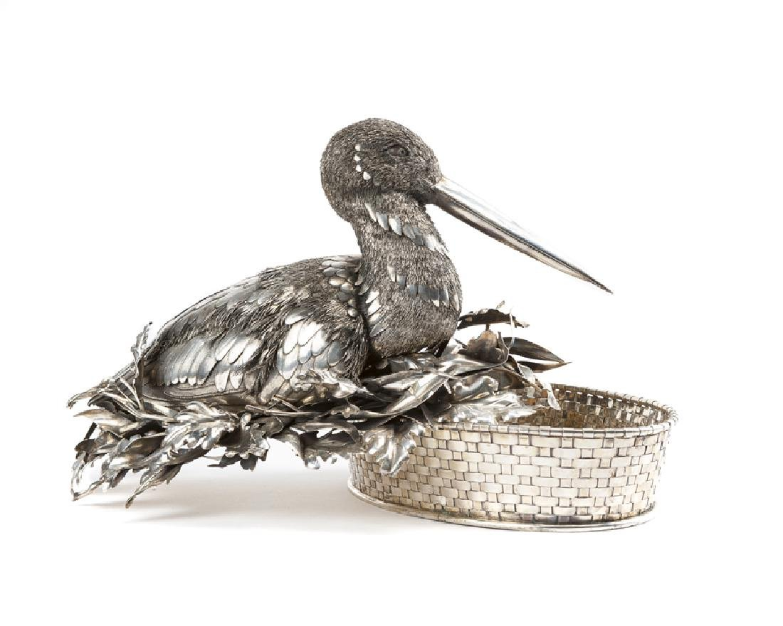 A Buccellati .800 silver bird-form centerpiece basket - 3
