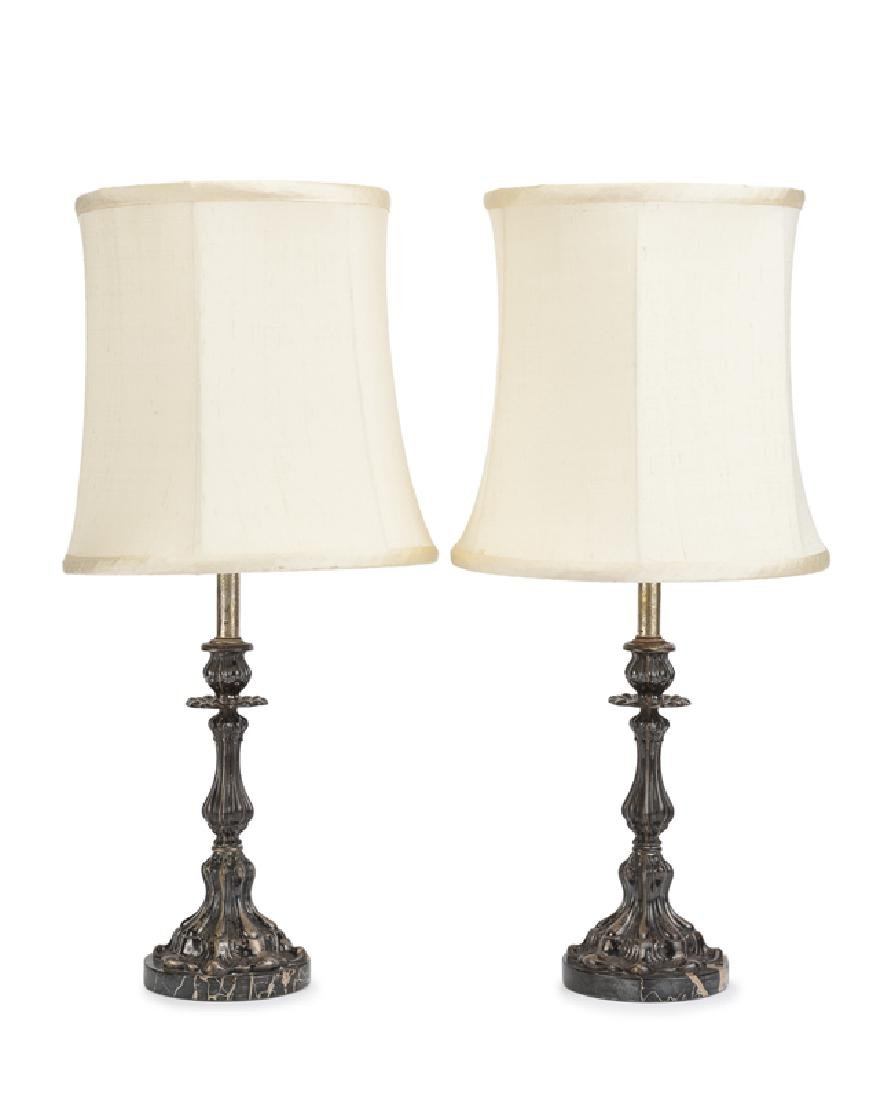 A pair of Italian .800 silver candlestick lamps