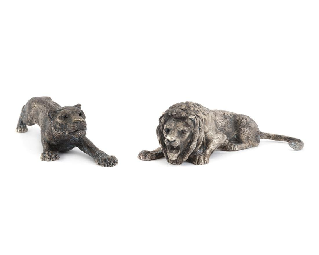 A pair of Italian .800 silver crouching lions
