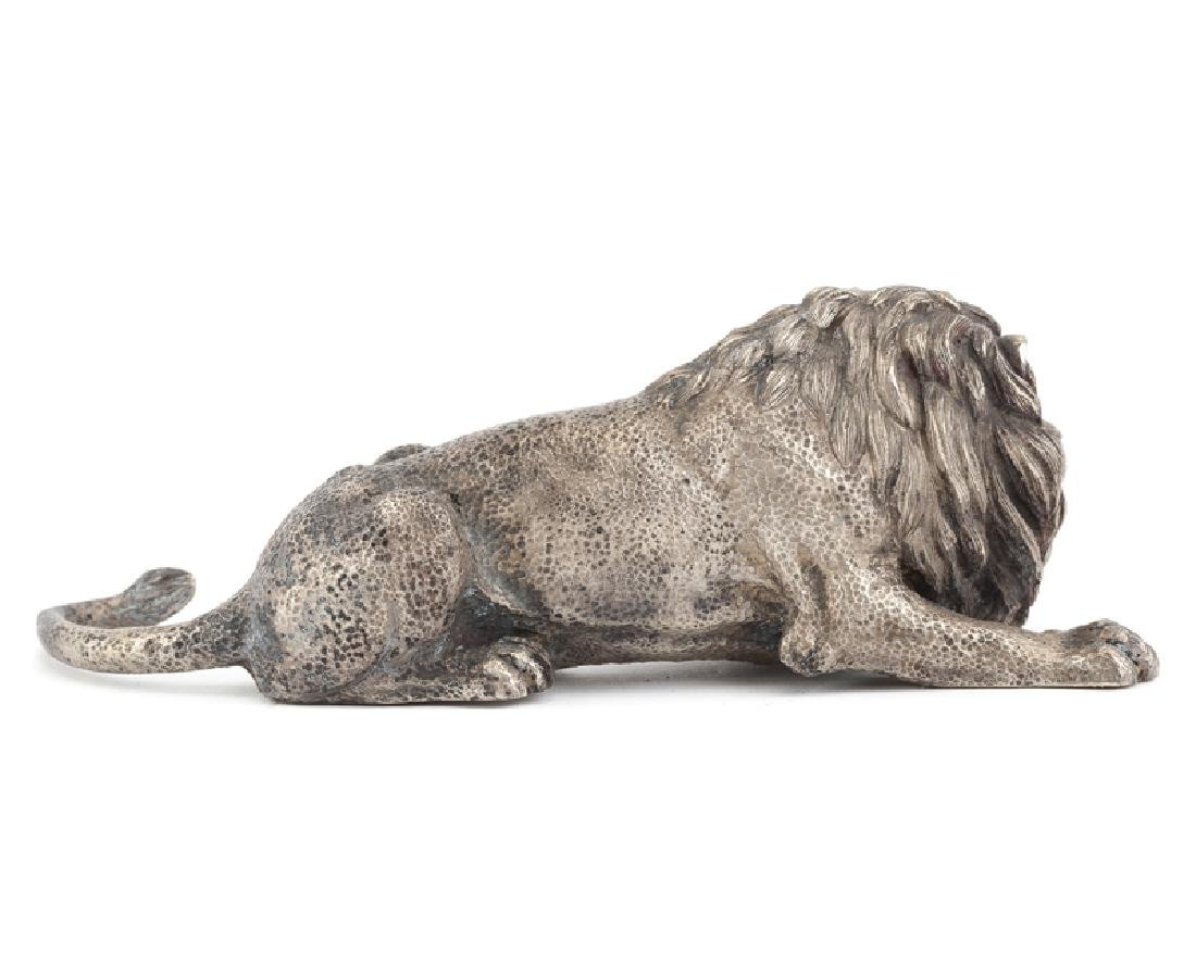 A pair of Italian .800 silver crouching lions - 3