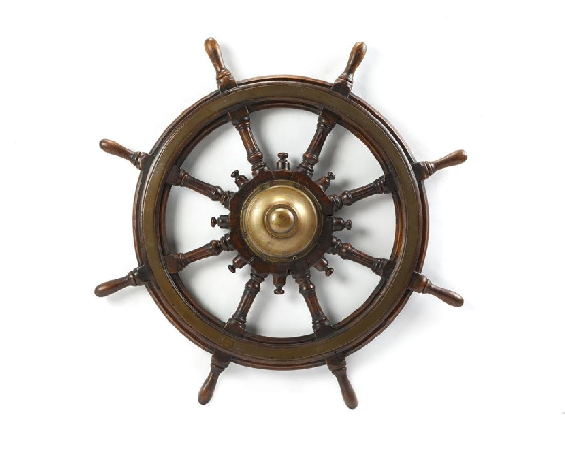 Antique wood and brass ship's wheel