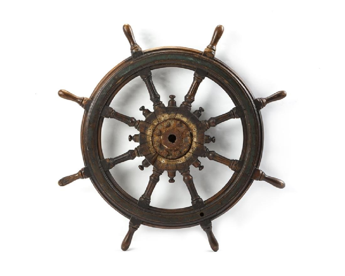 Antique wood and brass ship's wheel - 2