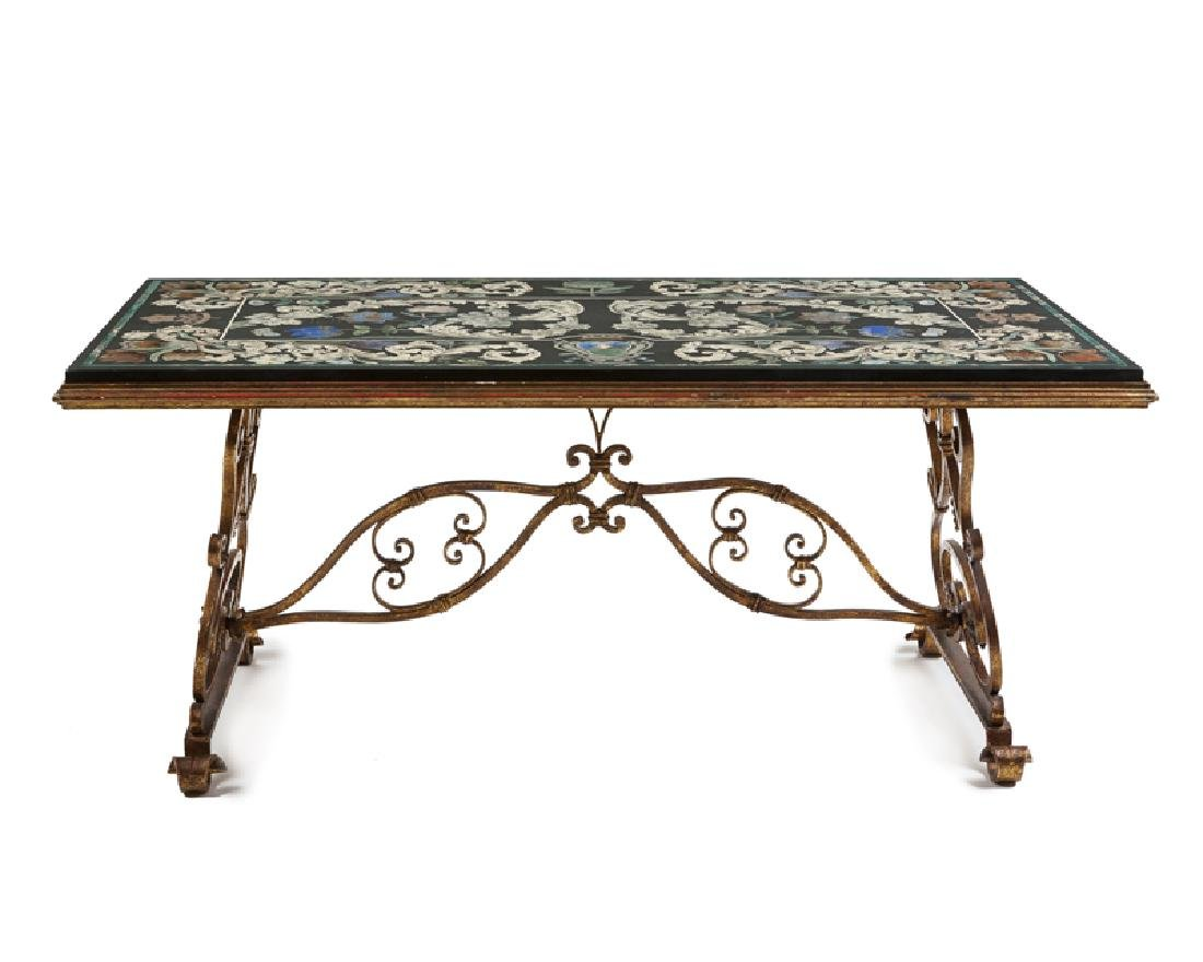 A scagliola cocktail table with gilt-iron base