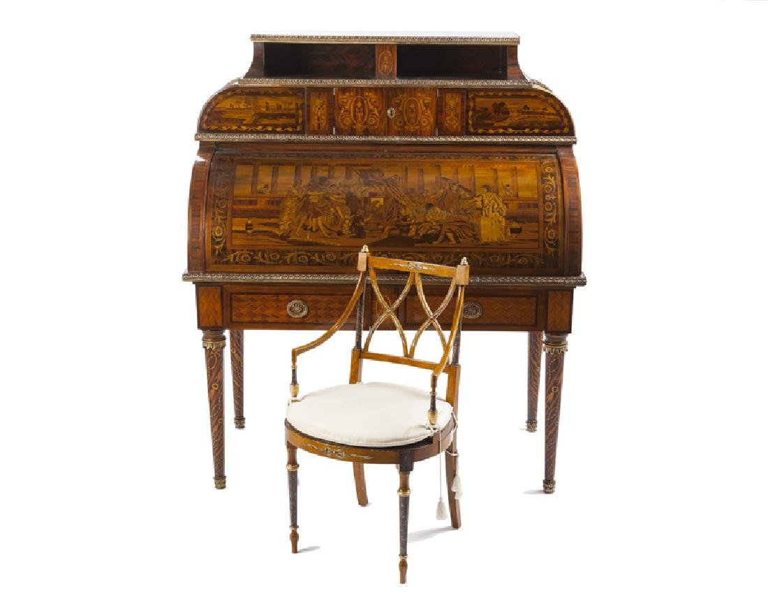 A Continental-style marquetry cylinder-top desk