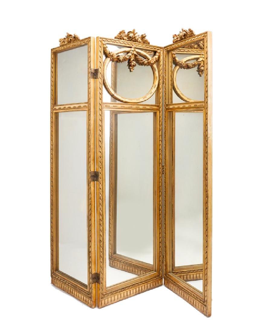 A French Louis XVI-style giltwood mirror