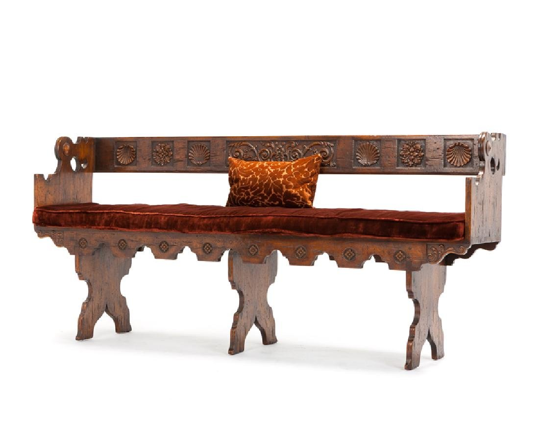 A Spanish Colonial-style carved wood bench - 3