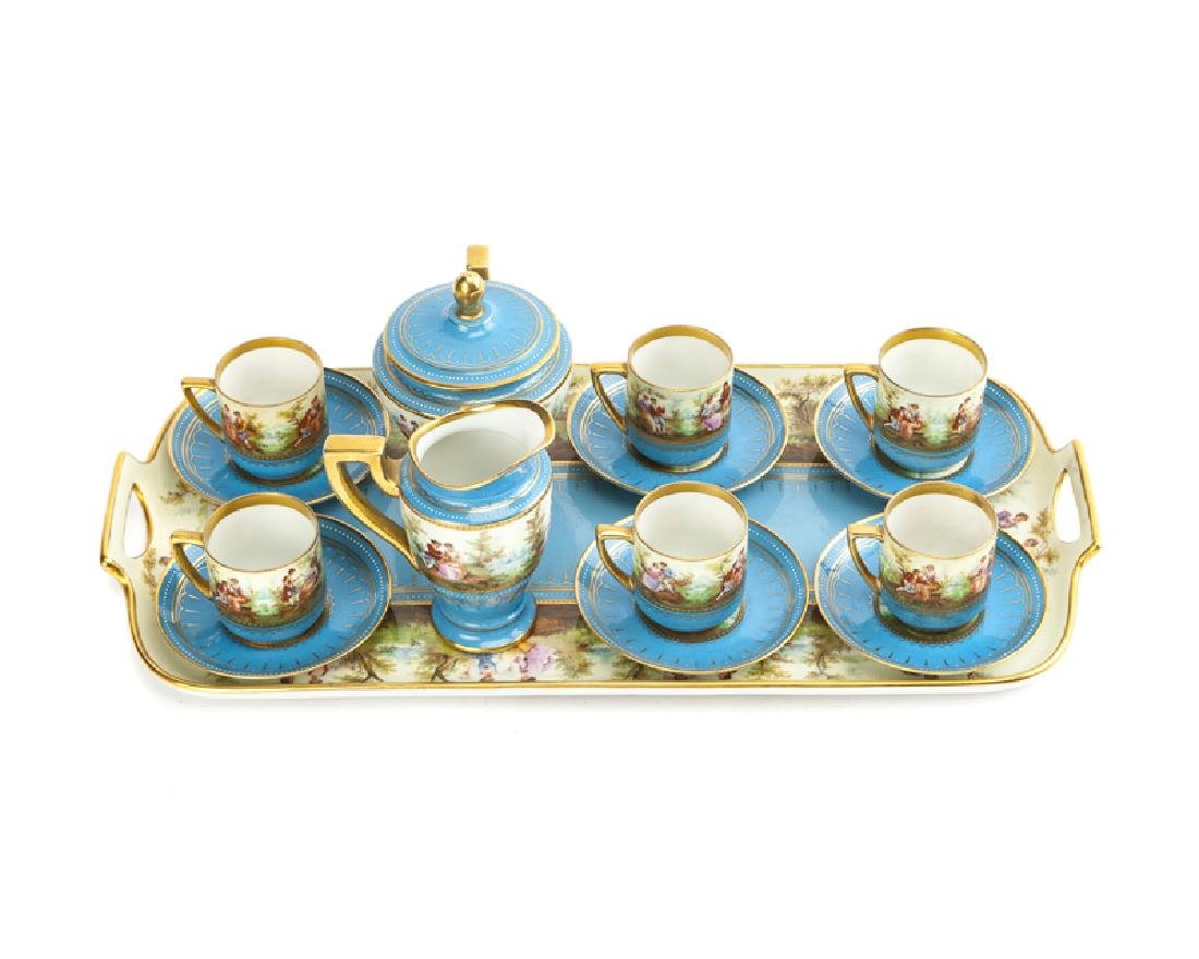 A Royal Vienna-style porcelain tea service