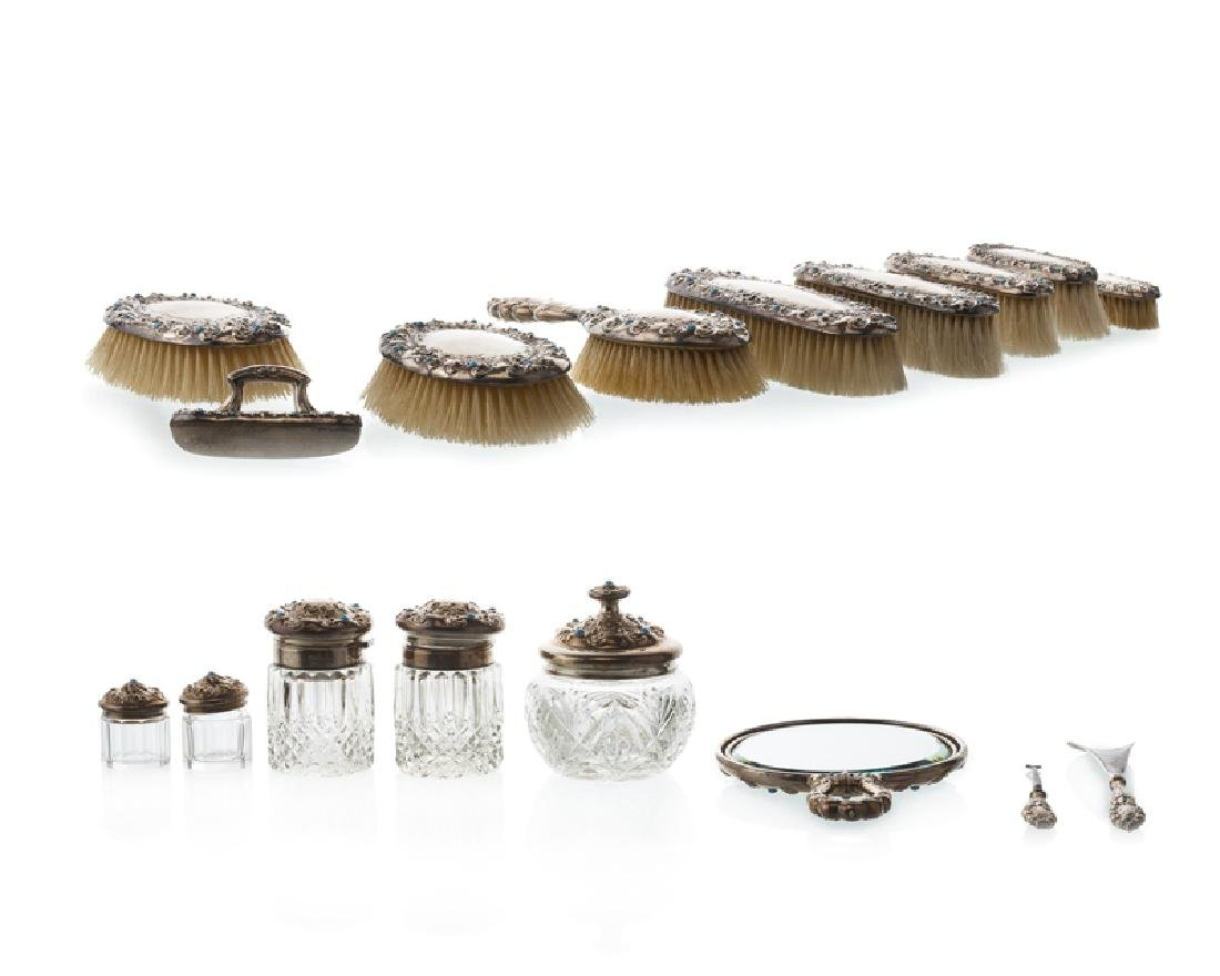 A sterling silver vanity set, Woodside Sterling Company