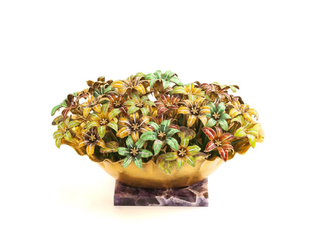 An Italian enamel and 18K yellow gold floral sculpture
