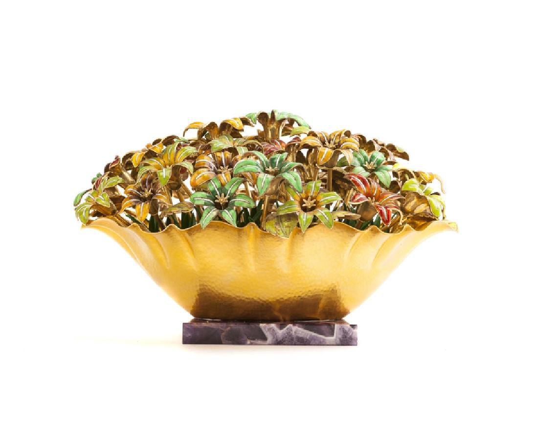 An Italian enamel and 18K yellow gold floral sculpture - 2