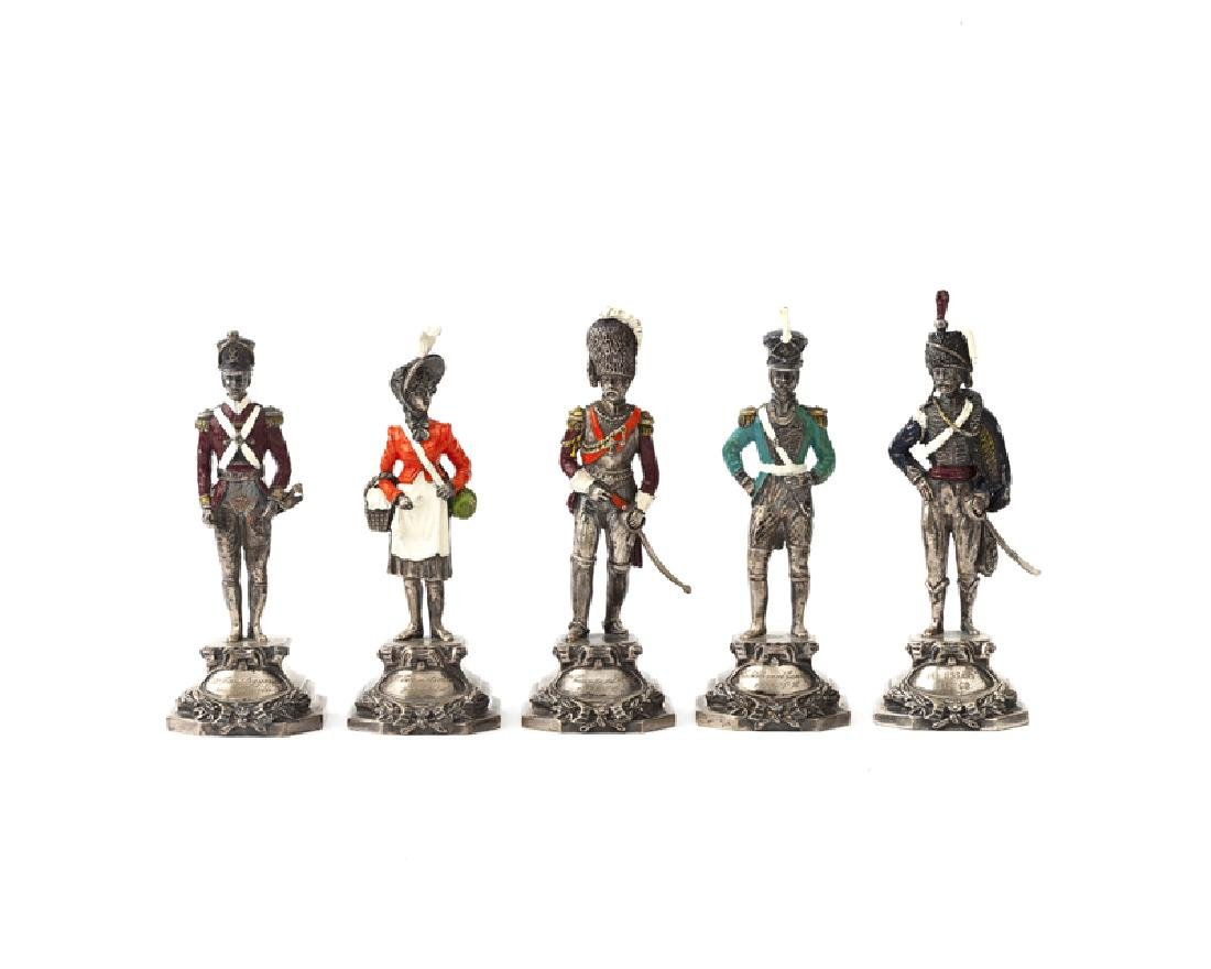 Five Italian .800 silver military figures