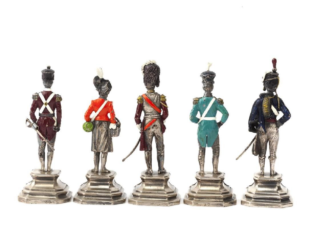 Five Italian .800 silver military figures - 2