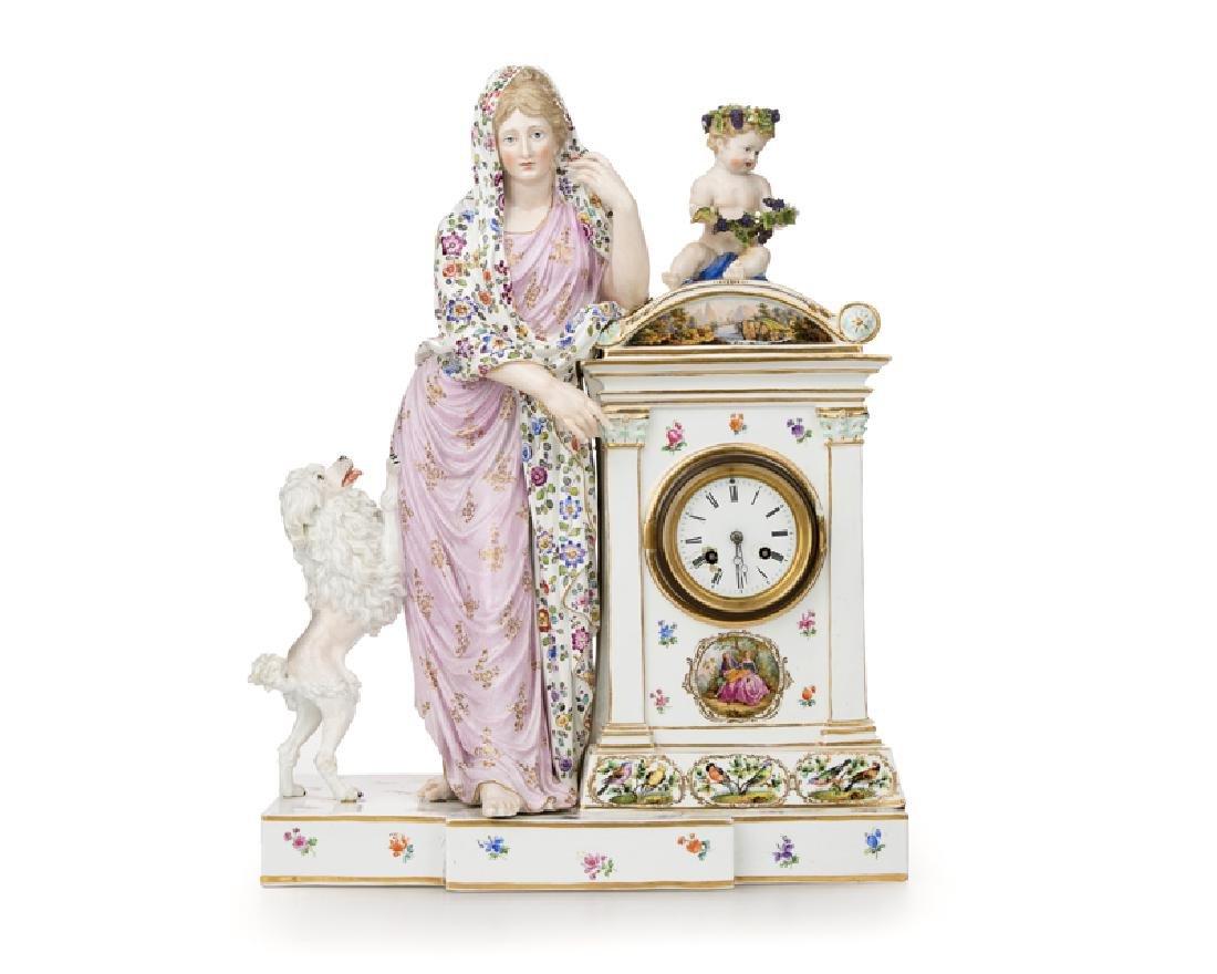 A Meissen porcelain figural mantel clock