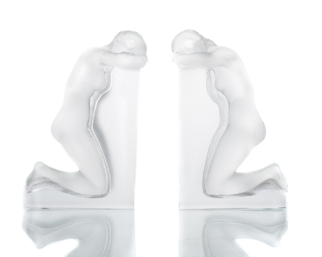 A pair of Lalique ''Reverie'' bookends