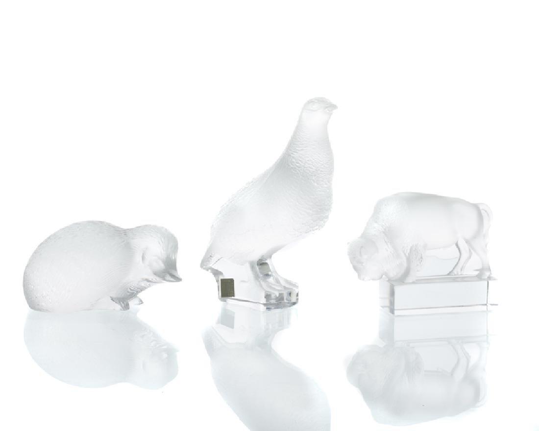 Three Lalique art glass animals