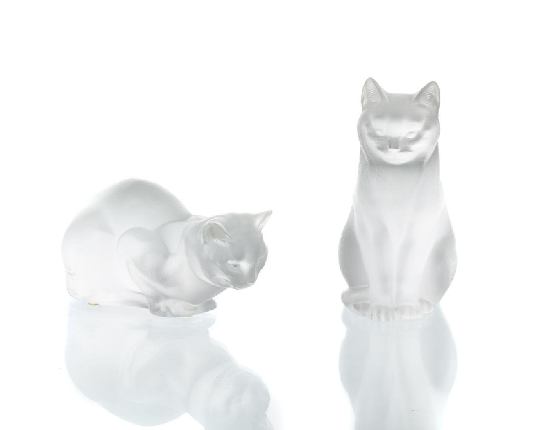 Two Lalique art glass cats