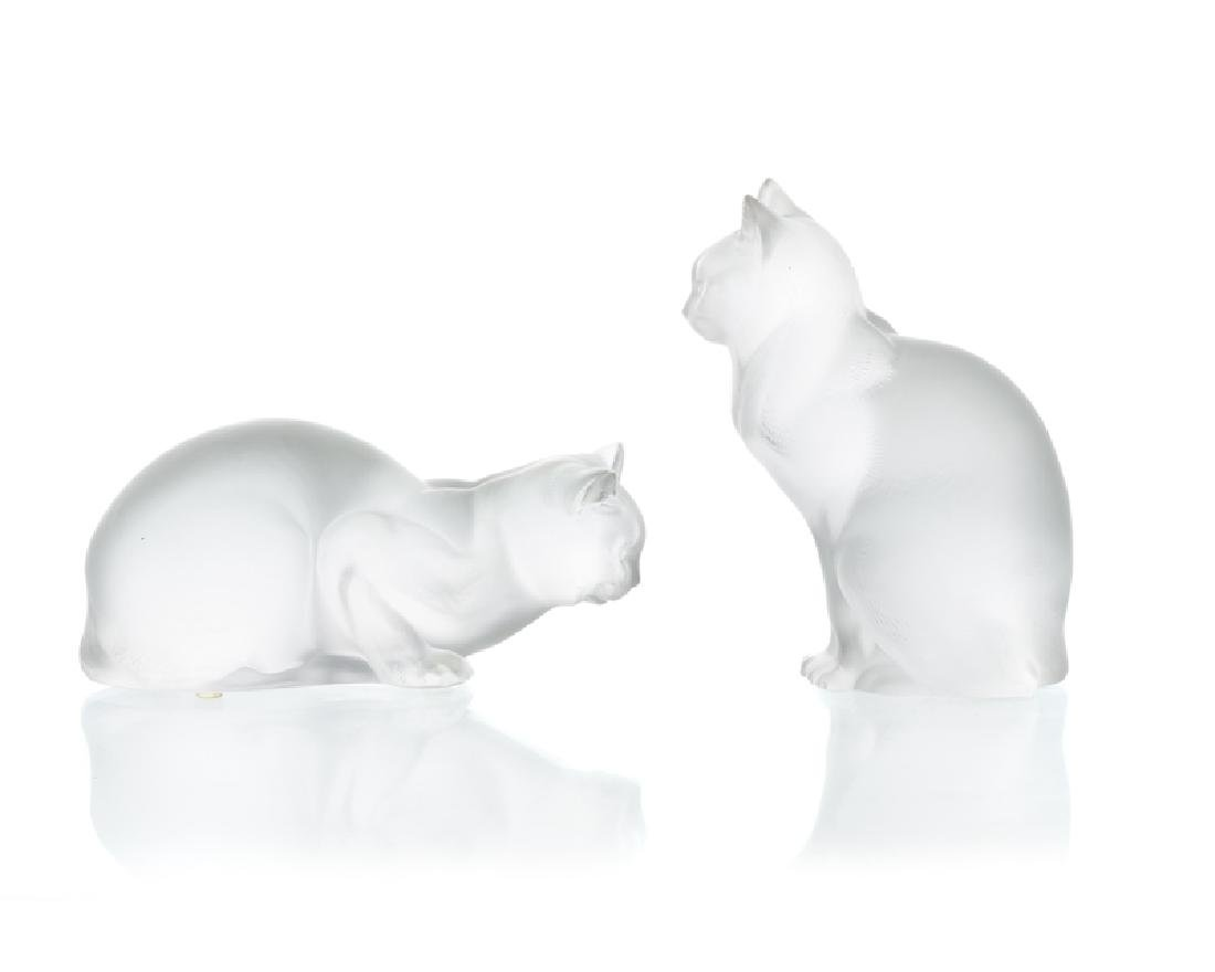 Two Lalique art glass cats - 2