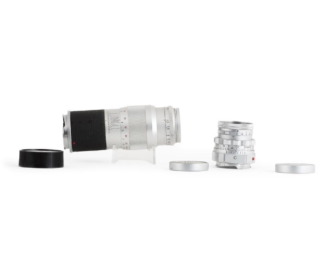 A Leica Wetzlar 13.5 cm 1:45 Hektor lens and f/ 5 cm