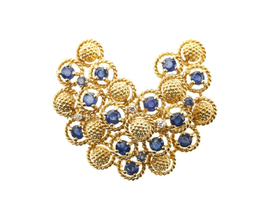 An Italian sapphire and diamond brooch