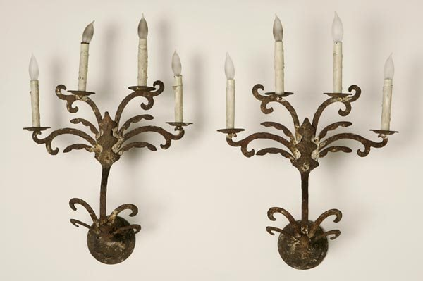 1006: A PAIR OF CONTINENTAL WROUGHT-IRON WALL-LIGHTS