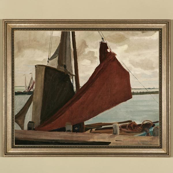1015: HELEN FORBES, SAILBOAT AT DOCK, OIL